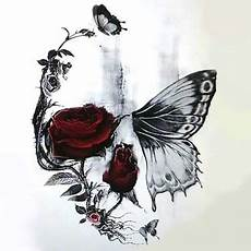 Skull Butterfly And Design Tattoos Forearm