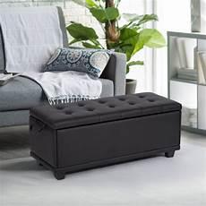 ottoman bench storage bedroom bench footrest upholstered tufted 42 quot large black rectangular
