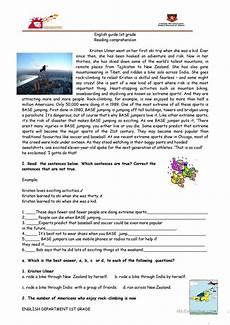 reading comprehension sports base jumping english esl