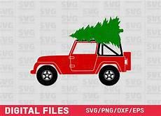 jeep with christmas tree svg christmas truck svg christmas