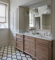bathroom ideas oak brushed oak dual washstand with gray quatrefoil tiles