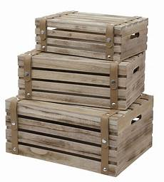 3er Set Deko Holzkiste 44cm Obstkiste Weinkiste Holz Kiste