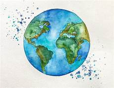 original globe world map watercolor painting by