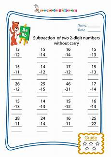 subtraction of two 2 digit numbers without carry free worksheet download preschool activities