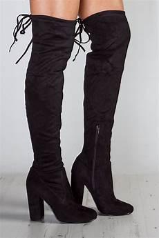 shop emily black suede the knee boots misspap
