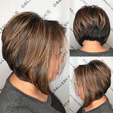 short angled bob blonde hair brunette stacked angled bob with caramel highlights the latest hairstyles for men and women