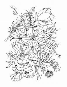 floral coloring page coloring page digital flower