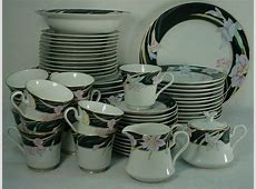 MIKASA china CHARISMA BLACK pattern 65 pc SET SERVICE for