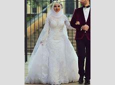 2019 White Arab Muslim Wedding Dresses Custom Made Long