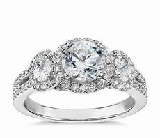 lhuillier three stone halo pav 233 diamond engagement ring in platinum 3 4 ct tw blue