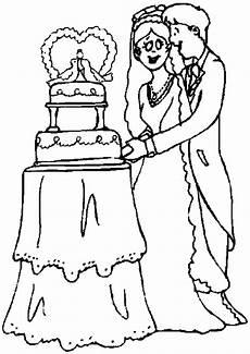 Malvorlagen Hochzeit Comic Brautpaar Schneidet Torte An Ausmalbild Malvorlage