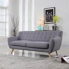 Mid Century Grey Sofa Muli Color Tufted Buttons Modern