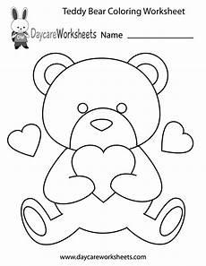 free preschool teddy coloring worksheet