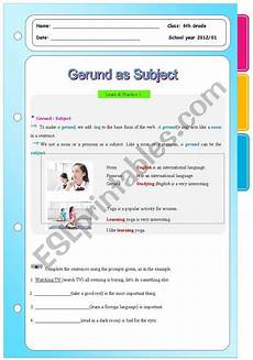 gerunds as subject and object esl worksheet by shinmirx