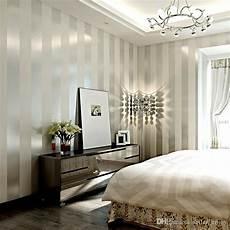 Non Woven Wallpaper Roll Classic Metallic Glitter Stripe