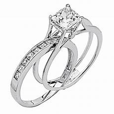 2 ct princess cut 2 piece engagement wedding ring band solid 14k white gold ebay