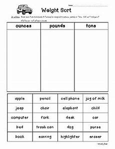 weight sorting worksheet ounces pounds or tons by 4 little baers
