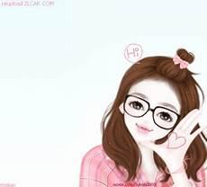 Gambar Kartun Korea Wanita Cantik Berkacamata Kartun