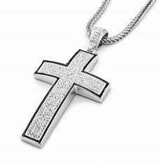 Kreuz Kette - mens silver black iced out cross pendant hip hop 36 quot in