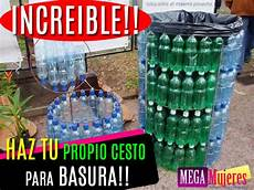 tachos de basura con material de botellas aprende como hacer un bote de basura reciclado