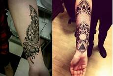Filigraner Feder Und Mandala Motive Als Unterarm Tattoos