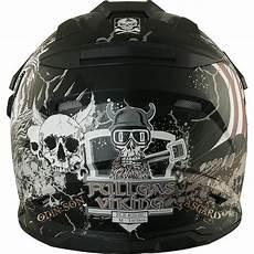 motorradhelm mit verspiegeltem visier broken fullgas viking schwarz matt enduro motocross