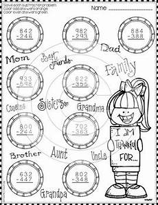 thanksgiving subtraction with regrouping worksheets 10720 thanksgiving 3 digit subtraction with regrouping color by code printables
