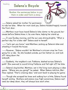 story sequencing selena s bicycle elementary activities