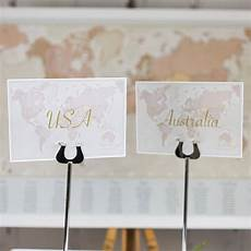 world countries wedding table name cards by maps