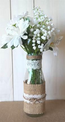 Toile De Jute Rustique Et Dentelle Verre Bouteille Vase