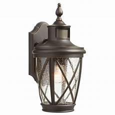 lowes outside wall lighting shop allen roth castine 13 78 in h rubbed bronze motion activated outdoor wall light at lowes com