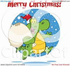 cartoon of a merry christmas greeting over a santa crocodile running with a sack royalty free