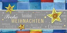 internationale weihnachtskarte in blau mit sternen und