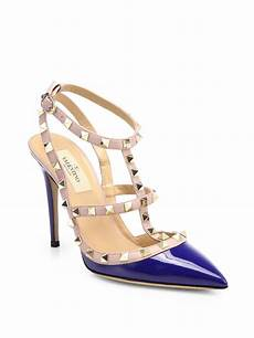 valentino rockstud patent leather slingback pumps in blue