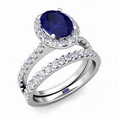 halo bridal diamond sapphire engagement ring 14k gold 7x5mm