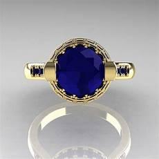 italian bridal 18k yellow gold 1 5 carat blue sapphire