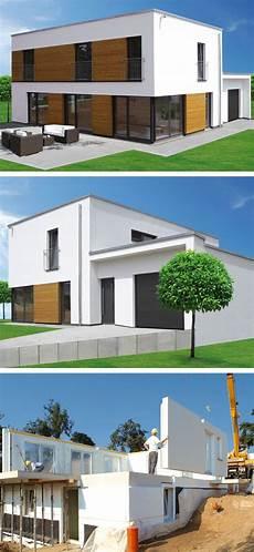 stadtvilla mit garage im stadtvilla modern im bauhausstil mit flachdach architektur