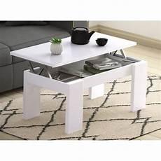 table basse avec plateau table basse blanche l120 x l60 cm plateau relevable avec