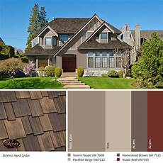 exterior color schemes aged cedar roof davinci shake
