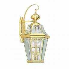 shop livex lighting georgetown 20 75 in h polished brass outdoor wall light at lowes com