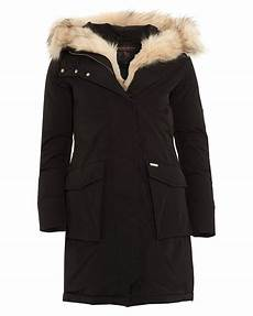 woolrich womens fur trimmed padded black parka coat