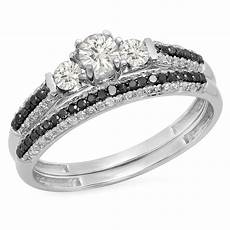 10k white gold diamond 3 stone bridal engagement ring