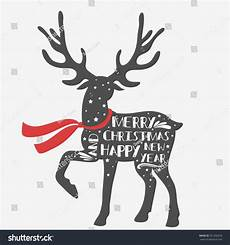 christmas deer merry christmas happy new stock vector 351202670
