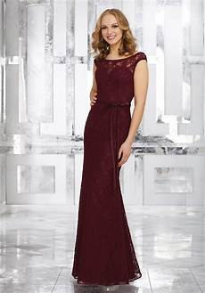 lace bridesmaids dress with matching satin tie sash style 21545 morilee