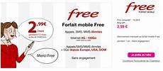 forfait free telephone portable offre free mobile le forfait 224 2 99 mois prolong 233 que