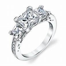 925 sterling silver 3 stone princess cut cubic zirconia