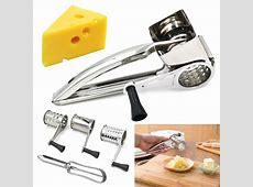 Stainless Steel Rotary Cheese Grater 3 Drums Slice Shred