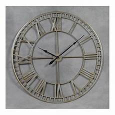 extra large metal skeleton wall clock silver hurn and hurn