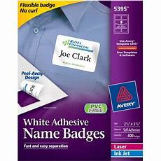 avery white adhesive name badges 5395 2 1 3 quot x 3 3 8