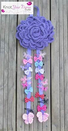 Crochet Flower Hair Bows large flower bow holder crochet hair accessories